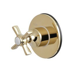 KINGSTON BRASS KS3032ZX THREE-WAY DIVERTER VALVE WITH SINGLE HANDLE AND ROUND PLATE IN POLISHED BRASS