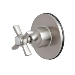 KINGSTON BRASS KS3038ZX THREE-WAY DIVERTER VALVE WITH SINGLE HANDLE AND ROUND PLATE IN BRUSHED NICKEL