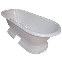 KINGSTON BRASS VCT7D723224 AQUA EDEN 72 INCH CAST IRON DOUBLE ENDED PEDESTAL BATHTUB W/ 7 INCH FAUCET DRILLINGS