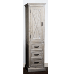 INFURNITURE WK8579SC 79 INCH HIGH RUSTIC SOLID FUR BARN DOOR STYLE SIDE CABINET IN DRIFTWOOD
