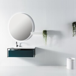 Eviva EVVN111-51BLU Modena 51 Inch Wall Mounted Bathroom Vanity in Teal with White Integrated Solid Surface Countertop