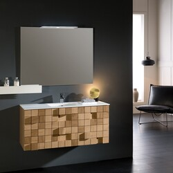 Eviva EVVN112-33OAK Mosaic 33 Inch Wall Mounted Bathroom Vanity in Oak with White Integrated Solid Surface Countertop