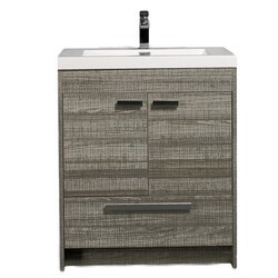 Eviva EVVN750-8-30ASH Lugano 30 Inch Modern Bathroom Vanity in Ash with White Integrated Acrylic Sink