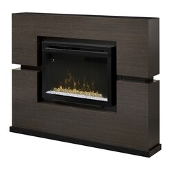 DIMPLEX GDS33HG-1310RG LINWOOD 65-1/4 INCH ELECTRIC FIREPLACE MANTEL PACKAGE WITH ACRYLIC ICE IN RIFT GREY