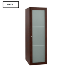 RONBOW ESSENTIALS 679015-1-W01 SHAKER 15 INCH LINEN CABINET STORAGE TOWER WITH FROSTED GLASS DOOR IN WHITE