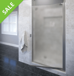 SALE! BASCO ARMN00A3166OBBN ARMON 30.25 TO 31.75 INCH WIDE OPENING, SEMI - FRAMELESS PIVOT SHOWER DOOR - BRUSHED NICKEL - OBSCURE GLASS