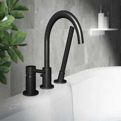 A and E BATH AND SHOWER DMTF-01-R-BL OXFORD BLACK DECK MOUNT FAUCET WITH BLACK MATTE FINISH