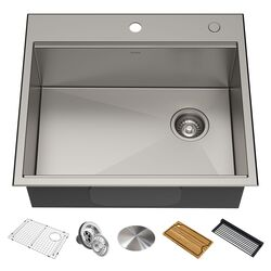 KRAUS KWT311-25 KORE WORKSTATION 25 INCH DROP-IN OR UNDERMOUNT 16 GAUGE SINGLE BOWL STAINLESS STEEL KITCHEN SINK WITH ACCESSORIES (PACK OF 5)