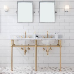 WATER-CREATION EB60D-06 EMBASSY 60 INCH WIDE DOUBLE WASH STAND, P-TRAP, COUNTERTOP WITH BASIN, FAUCET, BRASS HARDWARE FINISH