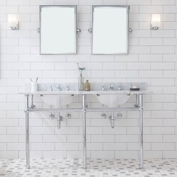 WATER-CREATION EB60E-01 EMBASSY 60 INCH DOUBLE WASH STAND, P-TRAP, COUNTERTOP WITH BASIN, FAUCET, MIRROR, CHROME HARDWARE FINISH