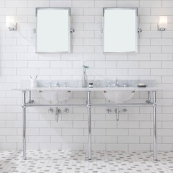 WATER-CREATION EB72E-01 EMBASSY 72 INCH DOUBLE WASH STAND, P-TRAP, COUNTERTOP WITH BASIN, FAUCET, MIRROR, CHROME HARDWARE FINISH