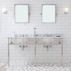 WATER-CREATION EB72E-05 EMBASSY 72 INCH DOUBLE WASH STAND, P-TRAP, COUNTERTOP WITH BASIN, FAUCET, MIRROR, NICKEL HARDWARE FINISH