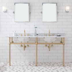 WATER-CREATION EB72E-06 EMBASSY 72 INCH DOUBLE WASH STAND, P-TRAP, COUNTERTOP WITH BASIN, FAUCET, MIRROR, BRASS HARDWARE FINISH