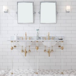 WATER-CREATION EP60E-06 EMBASSY 60 INCH DOUBLE WASH STAND, P-TRAP, COUNTERTOP WITH BASIN, FAUCET, MIRROR, BRASS HARDWARE FINISH