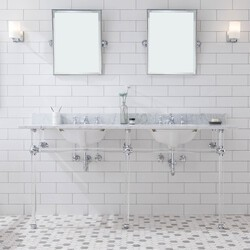WATER-CREATION EP72E-01 EMBASSY 72 INCH DOUBLE WASH STAND, P-TRAP, COUNTERTOP WITH BASIN, FAUCET, MIRROR, CHROME HARDWARE FINISH