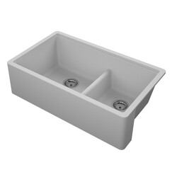 EMPIRE INDUSTRIES TF33DGG TITAN 33 INCH FARMHOUSE COMPOSITE GRANITE DOUBLE BOWL KITCHEN SINK IN GREY WITH STRAINER