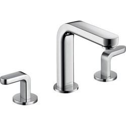 HANSGROHE 31013001 WIDESPREAD FAUCET 100 WITH LEVER HANDLES AND POP-UP DRAIN, 0.5 GPM