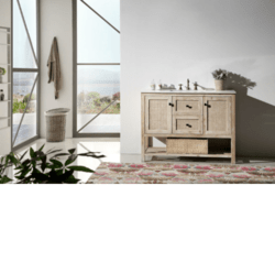LEGION FURNITURE WH5148 48 INCH SOLID WOOD VANITY IN WASH WHITE WITH MARBLE TOP, NO FAUCET