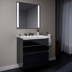 ROBERN 30119400SB00003 CURATED CARTESIAN 30 INCH THREE DRAWER TINTED GRAY MIRROR GLASS VANITY WITH LYRA TOP AND SELECTABLE 2700K/4000K NIGHT LIGHT
