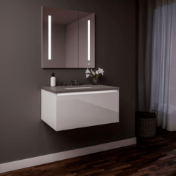 ROBERN 30219100SB00001 CURATED CARTESIAN 30 INCH SINGLE DRAWER WHITE GLASS VANITY WITH STONE GRAY TOP AND SELECTABLE 2700K/4000K NIGHT LIGHT