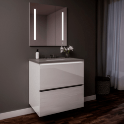 ROBERN 30219100SB00002 CURATED CARTESIAN 30 INCH TWO DRAWER WHITE GLASS VANITY WITH STONE GRAY TOP AND SELECTABLE 2700K/4000K NIGHT LIGHT