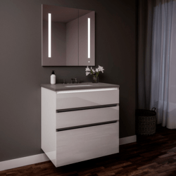 ROBERN 30219100SB00003 CURATED CARTESIAN 30 INCH THREE DRAWER WHITE GLASS VANITY WITH STONE GRAY TOP AND SELECTABLE 2700K/4000K NIGHT LIGHT