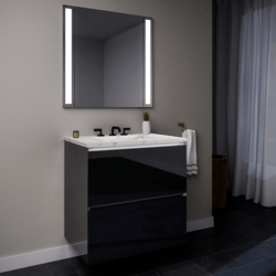 ROBERN 36119400SB00002 CURATED CARTESIAN 36 INCH TWO DRAWER TINTED GRAY MIRROR GLASS VANITY WITH LYRA TOP AND SELECTABLE 2700K/4000K NIGHT LIGHT