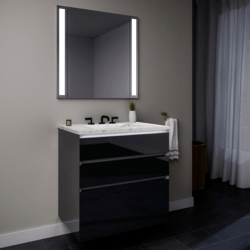 ROBERN 36119400SB00003 CURATED CARTESIAN 36 INCH THREE DRAWER TINTED GRAY MIRROR GLASS VANITY WITH LYRA TOP AND SELECTABLE 2700K/4000K NIGHT LIGHT