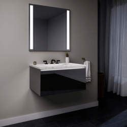 ROBERN 36119400SB00001 CURATED CARTESIAN 36 INCH SINGLE DRAWER TINTED GRAY MIRROR GLASS VANITY WITH LYRA TOP AND SELECTABLE 2700K/4000K NIGHT LIGHT