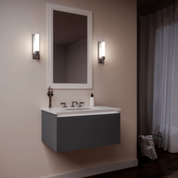 ROBERN 36279200SB00001 CURATED CARTESIAN 36 INCH SINGLE DRAWER MATTE GRAY GLASS VANITY WITH QUARTZ WHITE TOP AND SELECTABLE 2700K/4000K NIGHT LIGHT