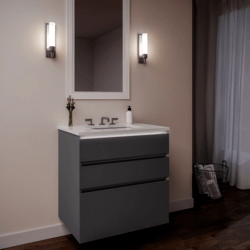 ROBERN 36279200SB00003 CURATED CARTESIAN 36 INCH THREE DRAWER MATTE GRAY GLASS VANITY WITH QUARTZ WHITE TOP AND SELECTABLE 2700K/4000K NIGHT LIGHT