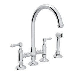 ROHL A1461LMWS-2 COUNTRY SAN JULIO DECK MOUNT C-SPOUT 3 LEG BRIDGE SINGLE HOLE KITCHEN FAUCET WITH SIDESPRAY AND METAL LEVERS