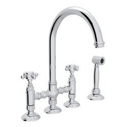 ROHL A1461XMWS-2 COUNTRY SAN JULIO DECK MOUNT C-SPOUT 3 LEG BRIDGE SINGLE HOLE KITCHEN FAUCET WITH SIDESPRAY AND CROSS HANDLES