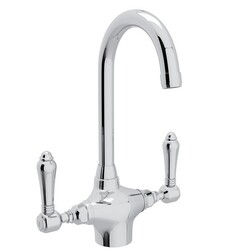 ROHL A1667LM-2 COUNTRY SAN JULIO SINGLE HOLE C-SPOUT BAR/FOOD PREP FAUCET WITH METAL LEVERS