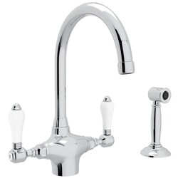 ROHL A1676LPWS-2 COUNTRY SAN JULIO SINGLE HOLE C-SPOUT KITCHEN FAUCET WITH SIDESPRAY AND PORCELAIN LEVERS