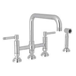 ROHL A3358ILWS-2 COUNTRY CAMPO DECK MOUNT U-SPOUT 3 LEG BRIDGE KITCHEN FAUCET WITH SIDESPRAY, CAMPO LEVER