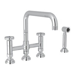 ROHL A3358IWWS-2 COUNTRY CAMPO DECK MOUNT U-SPOUT 3 LEG BRIDGE KITCHEN FAUCET WITH SIDESPRAY, CAMPO WHEEL