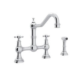ROHL U.4755X-2 PERRIN & ROWE EDWARDIAN BRIDGE SINGLE HOLE KITCHEN FAUCET WITH SIDESPRAY AND FIVE SPOKE HANDLES