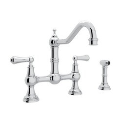 ROHL U.4756L-2 PERRIN & ROWE EDWARDIAN BRIDGE SINGLE HOLE KITCHEN FAUCET WITH SIDESPRAY AND METAL LEVERS