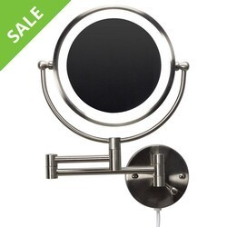 AMERICAN IMAGINATIONS AI-20275 ROUND BRASS-LED WALL MOUNT MAGNIFYING MIRROR IN BRUSHED NICKEL COLOR