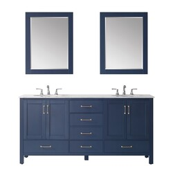 VINNOVA 723072-RB-CA GELA 72 INCH DOUBLE VANITY IN ROYALBLUE WITH CARRARA WHITE MARBLE COUNTERTOP WITH MIRROR