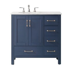 VINNOVA 723036-RB-CA-NM GELA 36 INCH SINGLE VANITY IN ROYAL BLUE WITH CARRARA WHITE MARBLE COUNTERTOP WITHOUT MIRROR