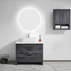 VINNOVA 801032C-LED-AC 32 INCH MODERN FRAMELESS LIGHTED ROUND BATHROOM MIRROR