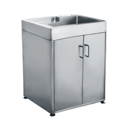 WHITEHAUS WH33209-CAB-NP PEARLHAUS 33 INCH FREE-STANDING 18 GAUGE BRUSHED STAINLESS STEEL CABINET WITH SINK