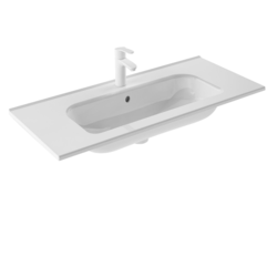 ROYO 123344 SLIM 40 L X 18 W INCH RECTANGLE SINGLE BOWL WASHBASIN IN GLOSS WHITE