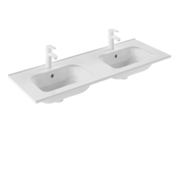 ROYO 123345 SLIM 48 L X 18 W INCH RECTANGLE DOUBLE BOWL WASHBASIN IN GLOSS WHITE