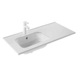 ROYO 125315 SLIM 36 L X 18 W INCH RECTANGLE SINGLE LEFT BOWL WASHBASIN IN GLOSS WHITE