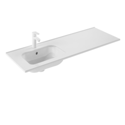 ROYO 125316 SLIM 48 L X 18 W INCH RECTANGLE SINGLE LEFT BOWL WASHBASIN IN GLOSS WHITE