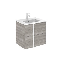 ROYO 125949 ONIX 24 INCH VANITY IN SANDY GREY WITH 2 DRAWERS AND WHITE HANDLE