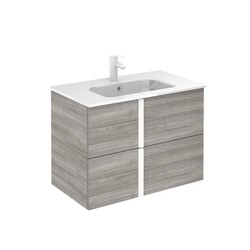 ROYO 125952 ONIX 32 INCH VANITY IN SANDY GREY WITH 2 DRAWERS AND WHITE HANDLE